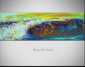 Wave Painting LARGE ORIGINAL Abstract Modern Seascape ocean on Canvas 30x10 by BenWill
