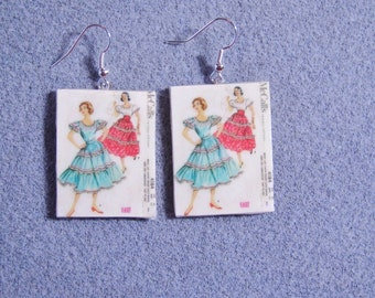 Retro Kitsch Sewing Pattern Dress Gown 1950s Dangle Polymer Clay Earrings 4184