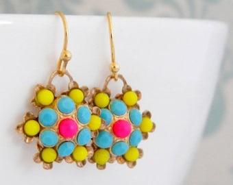 SALE Vintage Neon Yellow Hot Pink Swarovski Earrings
