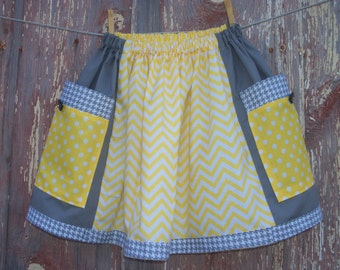 Girls Big Pocket Skirt in Yellow & Gray Girl's Size XL 10-16 OOAK