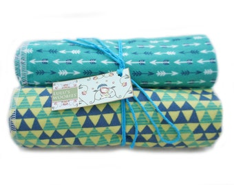 Receiving Blankets Aqua Arrows and Blue Green Triangles Cotton Flannel Baby Blanket Set Newborn Swaddling Baby Shower Gift