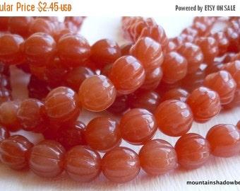 25% OFF Summer Sale 8mm Melon Bead - Czech Glass Beads - Milky Caramel (G - 339)