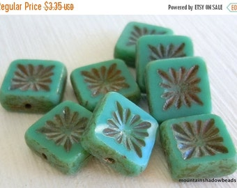 Fall Clearance Czech Glass Beads 10mm Square Beads Opaque Turquoise Picasso - 8 (G - 637)