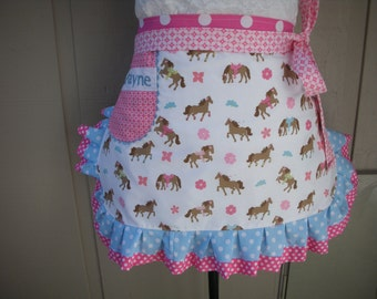 Womens Aprons - Cowgirl Aprons - Womens Horse Aprons - A Girl and Her Horse Apron - Personlized Aprons - Western Apron - Annies Attic Aprons