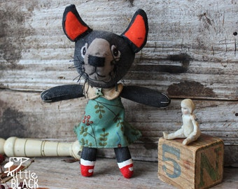 Natasha the Tasmanian devil, cloth art doll