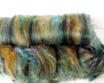 Carded Batt Merino & Silk Mustard Tree Fine Merino Wool  for Spinning or Felting 100g