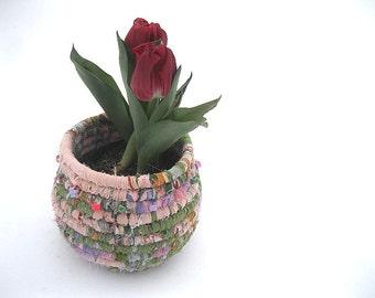 BULB GARDEN VASE    hand coiled textile art  basket