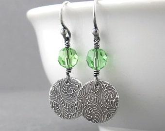 Peridot Earrings Green Earrings Tiny Drop Earrings Small Silver Circle Earrings Handmade Jewelry Modern Jewelry Crystal Jewelry - Tracey