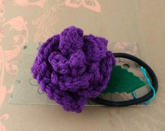 Crocheted Rose Ponytail Holder or Bracelet - Purple (SWG-HP-ZZ17)