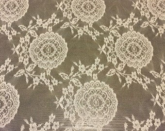 Polyester Lace Fabric Vintage Inspired 1/2 Yard Remnant