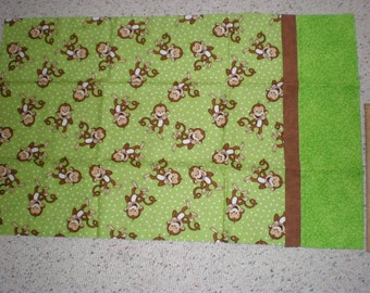 Green polka dot and cute Monkey Print Standard Size Bed Pillow Case
