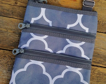 Gray Messenger Bag Mini Ipod Tablet Cross Body Bag Includes Personalization