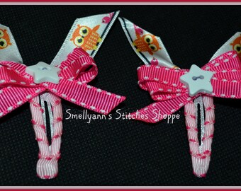 Fun SMALL Owl and Star Boutique Hair Bows on Snap Barrette Clips