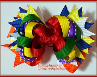Bright Rainbow MEDIUM Stacked Hair Bow on Alligator Clip in ROYGBIV colors - So FUN!