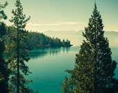 Lake Tahoe Photography - California Landscape Photo - Mountains, Trees, Lake, Beautiful Travel Photos, Nature, Green and Blue, Nevada