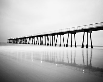 Hermosa Pier Photography, Beach Wall Art, Pacific Ocean Photography, Long-Exposure Photography, Sepia Landscape, Nature Print, California