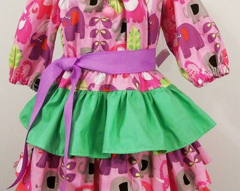 Girls 3 ruffle Lavender Peasant Dress Girls Clothing handmade Made in the USA #248