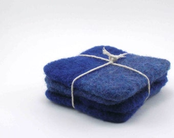 Wool felted coasters - color block wool coaster set - midnight blue and denim