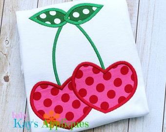 Cherry Hearts Applique Design 4x4, 5x7, 6x10, 8x8