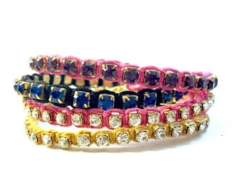 Stackable Crystal Rhinestone Friendship Bracelets - Tennis Bracelets For Best Friends - Available In Multiple Colors, Customizable Gifts