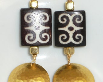 Humility & Strength - Batik bone, brass and gold-filled earrings