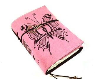 Leather Journal, Handmade Notebook, Travel Journal, Butterfly