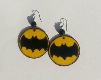 Yellow Batman Emblem Earrings Wood burned 2