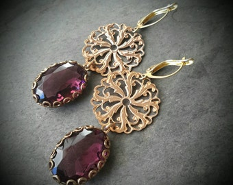 Pinwheel Earrings, Fleur-Di-Lis, Neo Victorian Style Amethyst Glass Earrings, Bohemian Earrings, Purple Earrings, Brass Filigree, Symbolism