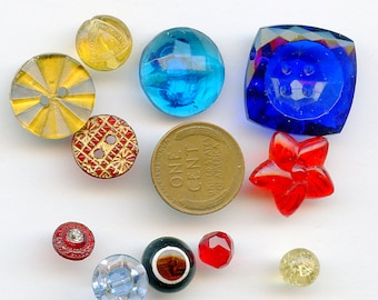 Lot Transparent Glass Vintage Buttons (10) DIFFERENT COLORS Sizes 2840