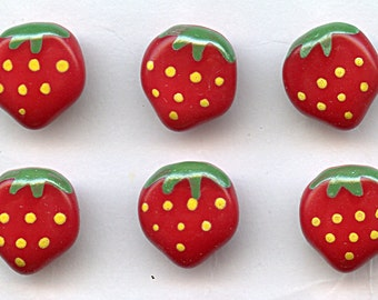 """STRAWBERRY Vintage glass buttons Set of (6) Hand Painted RED Strawberries NOS 1/2"""" size Matching MoRE AVAiLABLE 1810"""