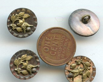 "Victorian Shell Buttons FUCHSIAS with Cut Steels Set (4) Matching Smokey Smoky Pearl 5/8"" inch size Floral Flowers 2298"