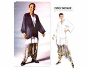 Issey Miyake Oversized Jacket Top Dropped Crotch Hammer Pants Vogue 1328 Vintage Sewing Pattern Size 16 - 18 Bust 38 - 40 UNCUT