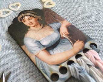 Jane Austen thread keep wooden embroidery floss organizer