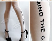Sale/15%Off/EndsSep30/ naughty MIND the GAP TATTOO thigh-high socks white