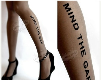 Sale/15%Off/EndsSep30/ grey naughty MIND THE GAP tattoo thigh high stockings / nylons