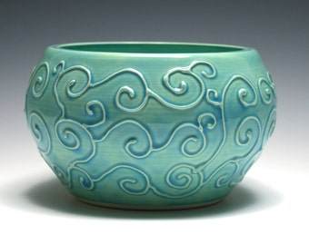 Turquoise Bowl with Raised Swirl Design
