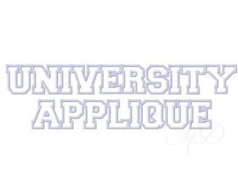 "2.5"" University Applique Font Machine Embroidery Pattern BX Instant Download PES 4x4 5x7 6x10"