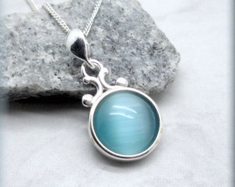 Turquoise Blue Cats Eye Necklace, Cabochon Necklace, Sterling Silver, Summer Necklace, Glass Pendant, Everyday Jewelry, Minimalist (SN926)