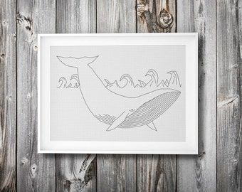 modern embroidery + cross stitch pattern ++ hipster whale ++ pdf  INsTAnT DOwNLoAD ++ diy ++ line wall art ++ handmade design