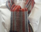 Hand woven wool scarf in color block of red, rust, navy, hand dyed American wool, warm, soft, stylish