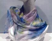 Thank You SALE Silk gauze silk fabric, Hand Dyed silk scarf, sky blue, yellow green, spring green, spruce green, lavender, learn nuno feltin