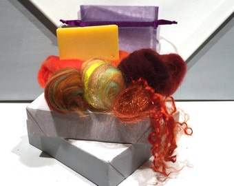 Orange Lavender Felted Soap Kit, DIY gift, DIY Felt Craft Kit, Wet Felting, Make felted soap, Beginner Felting, color choices, Organic Soap