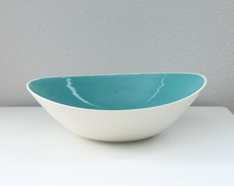 Porcelain Wave Bowl in Turquoise - Altered Ceramic Bowl - Tilt Bowl in Turquoise Blue - Abstract Pottery Bowl - Modern Ceramic Bowl