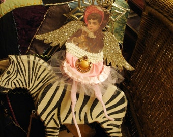 Angel*Victorian*Dazzling wings and star*Pink taffeta skirt*Vintage brooch*O darling*One of a kind Ornament