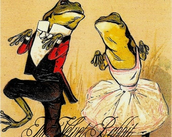 Frogs*Canvas Paper Print*Frogs dancing*Cake walk*GREAT*8x10 inches*Free shipping in the USA