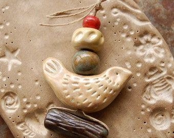 Forest Dreams / Ceramic Bird and Twig Bead Set