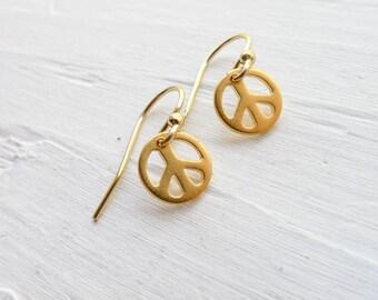 Peace Earrings Peace Sign Jewelry Dainty Dangle Earings Delicate in Gold