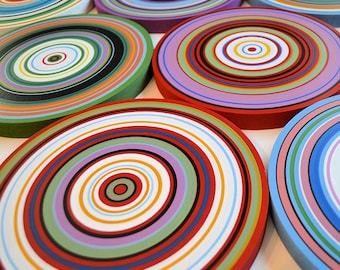 "Abstract Paintings  Wood Art Sculpture Modern Colorful Decor Wooden Original - 9 piece large set ... ""Round About"", by Amy Giacomelli"