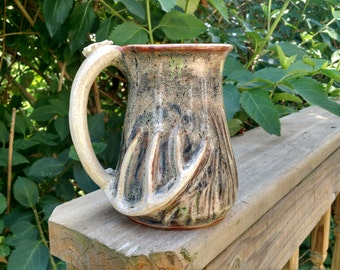 17 oz deer antler mug handmade stoneware pottery gift for the hunter coffee camoflauge 012