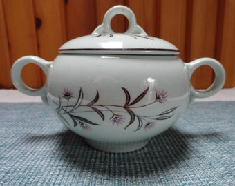 Ceramic Sugar Bowl with Lid Pink Floral